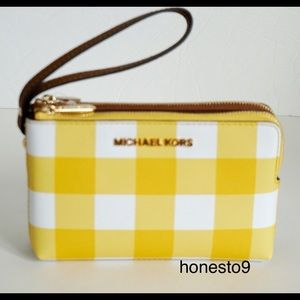 Michael Kors Wristlet Yellow Brown White Gingham